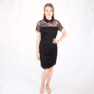 KARL LAGERFELD PARIS Black Lace Mini Dress 1306